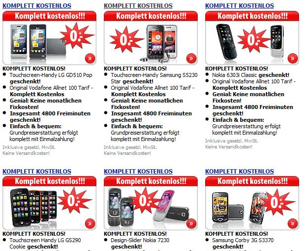 Smartphone im Vertragsangebot