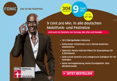 Fonic Neukundenaktion mit 30 Euro Startguthaben
