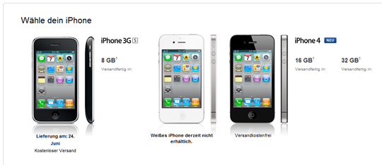 Das iPhone 4 bei Apple bestellen