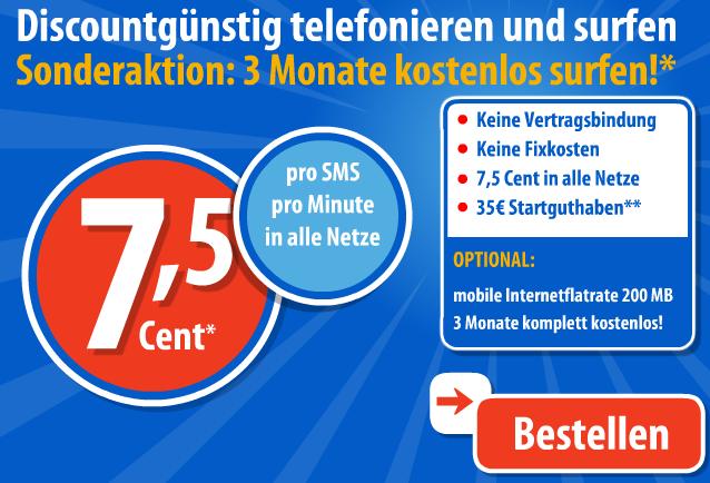 Discoplus 3 Monate gratis Internet und 35,- Euro Startguthaben