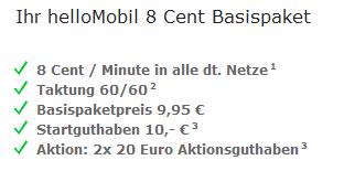 Hellomobil mit 50,- Euro Startguthaben - Nur noch heute!