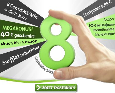 Maxxim mit 40 Euro Startguthaben im Januar 2011