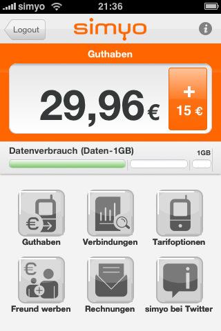 Die simyo iPhone App
