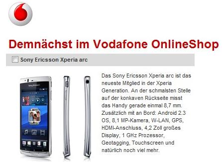 Das Sony Ericsson Xperia Arc bei Vodafone.de