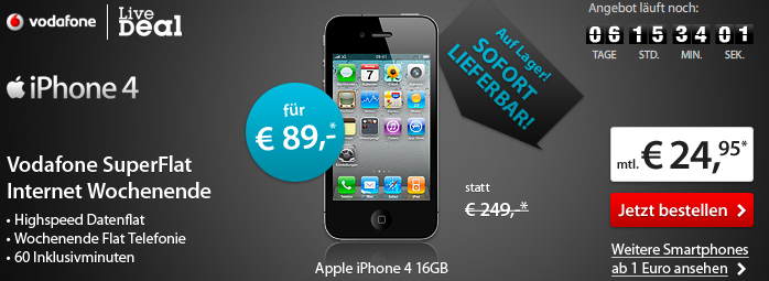 iPhone 4 bei Sparhandy fuer 89,- Euro