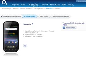 Das Nexus S bei O2
