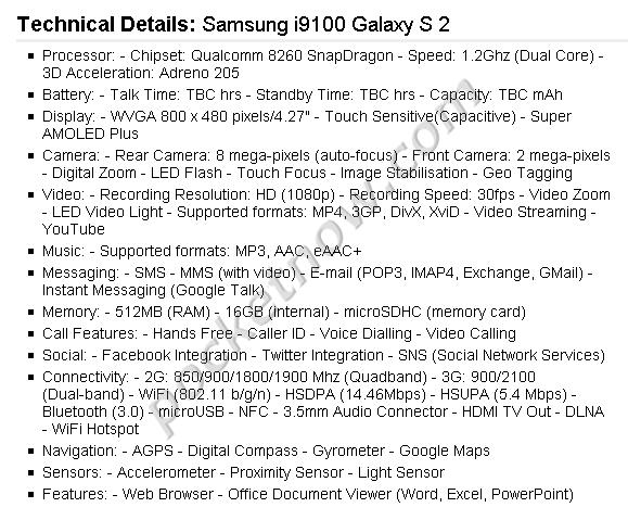 Samsung Galaxy S2 Spezifikationen aufgetaucht
