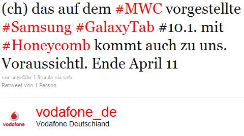 Galaxy Tab 10.1 exklusiv bei Vodafone
