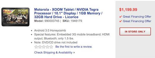 Das XOOM Tablet für 1200 US$ bei bestbuy
