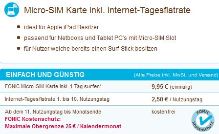 Fonic micro-SIM UMTS Flatrate Tarif
