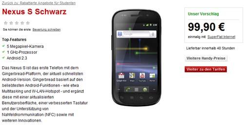 Das Google Nexus S ab sofort bei Vodafone erhältlich