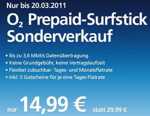 Der O2 Prepaid Surfstick im Sonderangebot