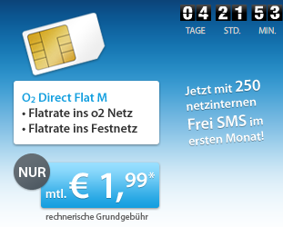 O2 Handyflatrate für 1,99 Euro pro Monat