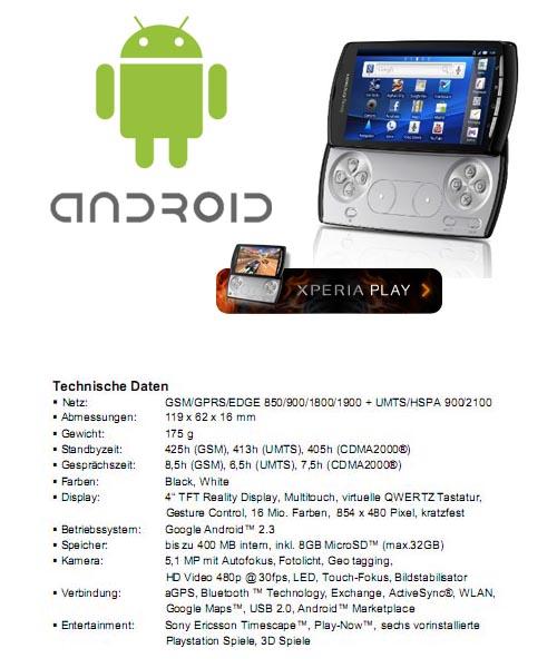 Das Sony Ericsson Xperia Play - Details