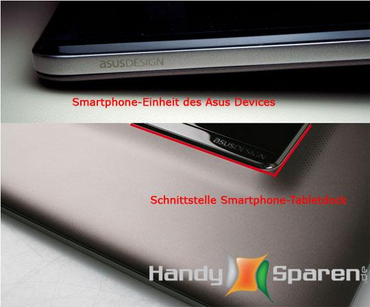 Das Bild zeigt zum einen das angedockte Smartphone am Tabletgehäuse als auch das alleine Smartphone Element