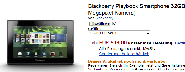 Blackberry Playbook bei Amazon gelistet