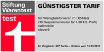 Callmobile Testsieger Stiftung Warentest 2011