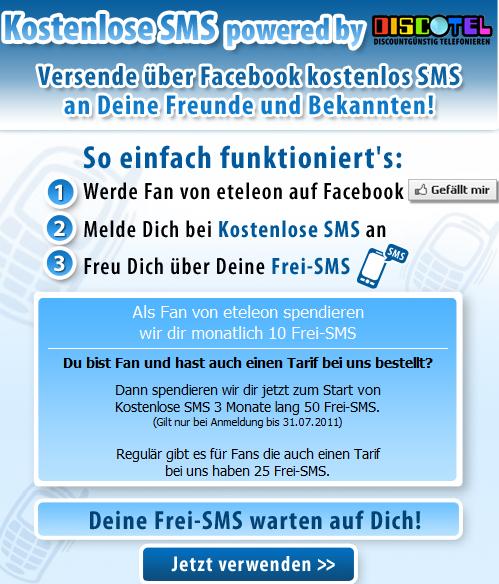 Gratis SMS via Facebook versenden