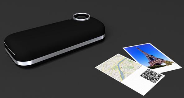 iPhone mit Polaroid Drucker Case