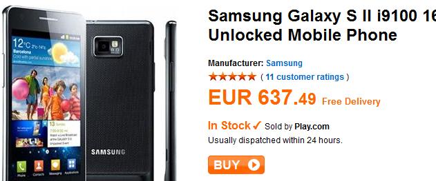 Samsung Galaxy S2 bei play.com vorrätig
