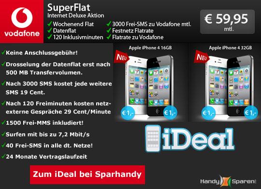 Angebot 2: iPhone 4 mit Vodafone Superflat Internet