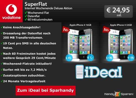 Angebot 1: iPhone 4 mit Superflat Internet Wochenende