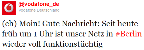 Laut Vodafone ist die Netzstörung im Großraum Berlin behoben.