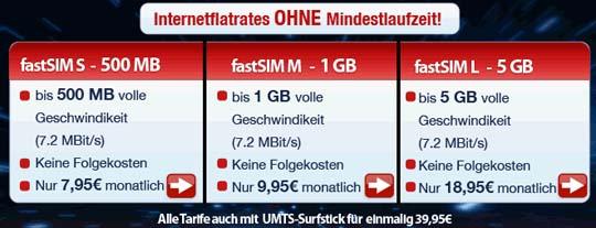 FastSIM UMTS Flatrate Tarife
