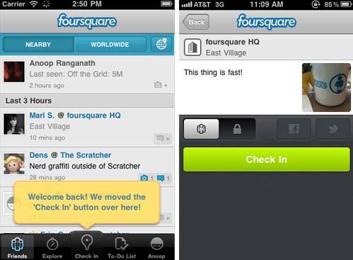 Foursquare iOS App erhält Update auf 3.2