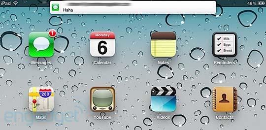 iOS 5 mit Nachrichtenleiste und Popup