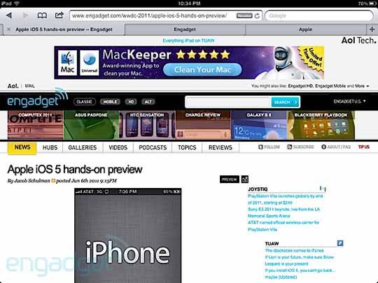 Safari mit neuen Funktionen in iOS 5