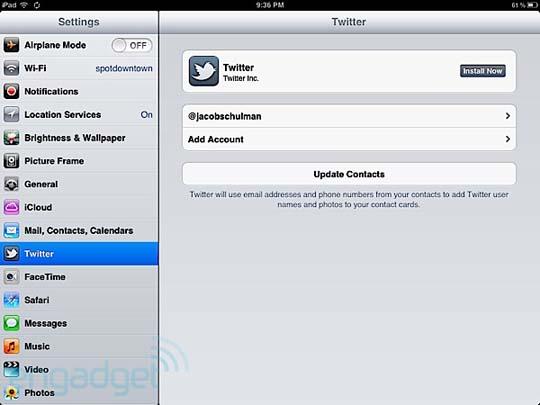 Twitter Einstellungen bei iOS 5