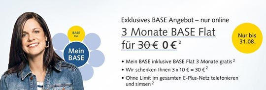 BASE Angebot: 3 Monate BASE Flatrate gratis!