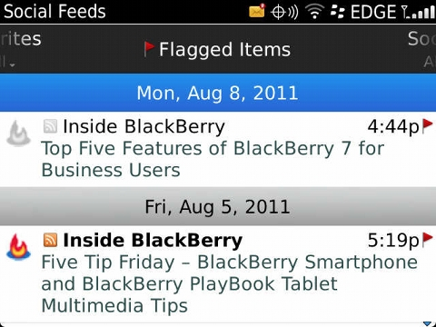 Blackberry OS 7 mit Social Feeds