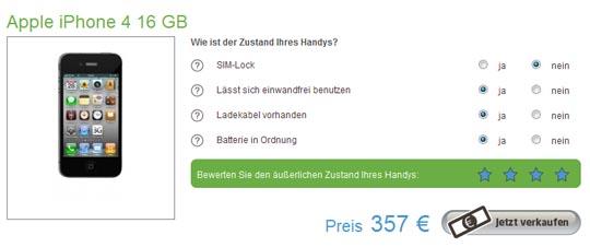 Noch 357,- Euro für ein gebrauchtes iPhone 4 16 GB