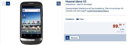 Das Huawei Ideos X3 Smartphone bei Lidl