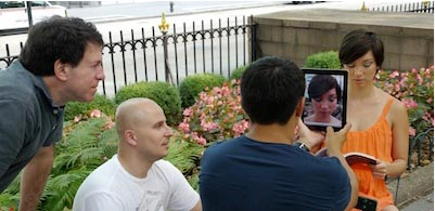 Frau mit iPad Kopf - Making of