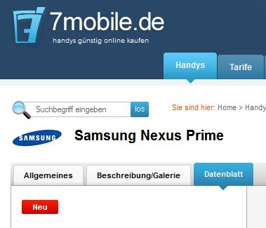 7mobile.de listet das Google Nexus Prime