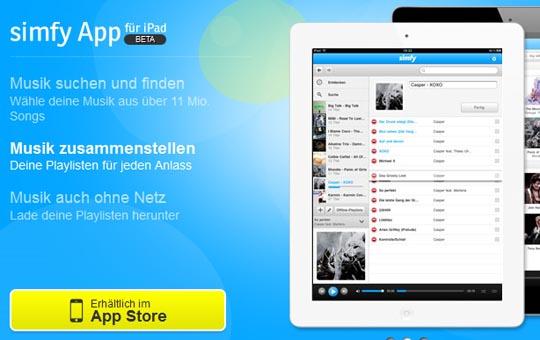 Die simfy iPad App - Noch Beta-Status