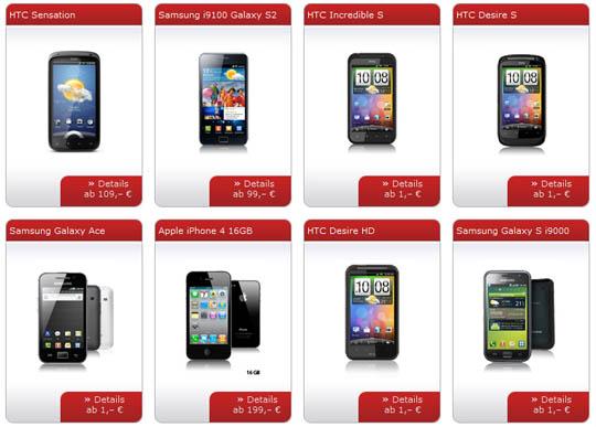 Smartphone-Auswahl bei sparhandy