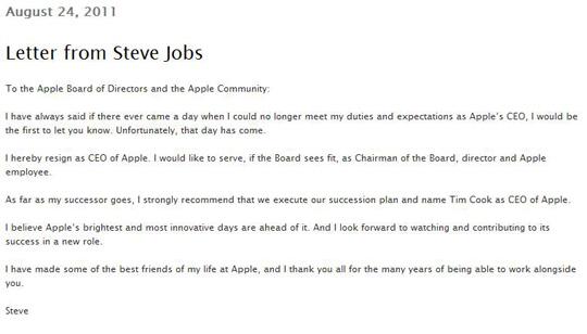 Der öffentliche Rücktrittsbrief von Steve Jobs