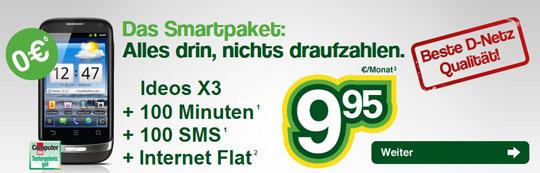 Smartmobil mit gratis Smartphone Ideos X3